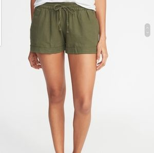Old Navy Army Green Linen Blend Shorts